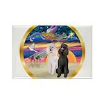 XmasMagic/2 Std Poodles Rectangle Magnet