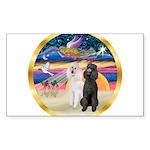 XmasMagic/2 Std Poodles Sticker (Rectangle 50 pk)