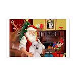 Santa's Std Poodle(w) Rectangle Car Magnet