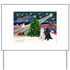 XmasMagic/ 2 Std Poodles Yard Sign