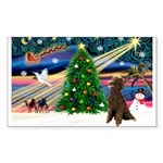 XmasMagic/ Std Poodle Sticker (Rectangle 50 pk)