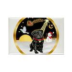 Night Flight/Pug (blk)#13 Rectangle Magnet (10 pac