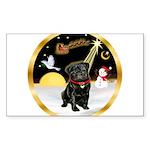 Night Flight/Pug (blk)#13 Sticker (Rectangle 50 pk