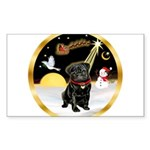 Night Flight/Pug (blk)#13 Sticker (Rectangle)