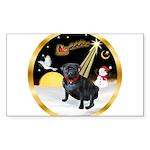 Night Flight/Pug (black) Sticker (Rectangle)