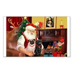 Santa's Two Pugs (P1) Sticker (Rectangle 10 pk)