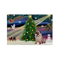 Xmas Magic & Pug Rectangle Magnet