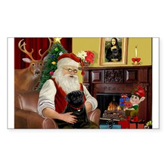Santa's Black Pug Sticker (Rectangle 50 pk)