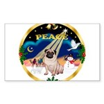 XmasSunrise/Pug Sticker (Rectangle 10 pk)