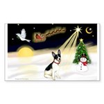 Night Flight/Rat Terrier Sticker (Rectangle)