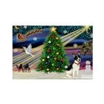 XmasMagic/Rat Terrier Rectangle Magnet