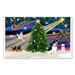 XmasMagic/Rat Terrier Sticker (Rectangle 10 pk)