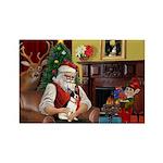 Santa's Rat Terrier Rectangle Magnet (10 pack)