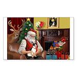 Santa's Rat Terrier Sticker (Rectangle 10 pk)