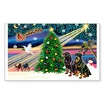 XmasMagic/2 Rotties Sticker (Rectangle 50 pk)