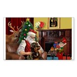 Santa's Rottweiler Sticker (Rectangle)