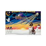 XmasSunrise/St Bernard Rectangle Magnet (10 pack)