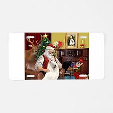 Santa's Samoyed Aluminum License Plate