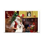 Santa's Samoyed Rectangle Car Magnet