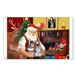 Santa's 2 Schnauzers Sticker (Rectangle)
