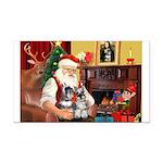 Santa's 2 Schnauzers Rectangle Car Magnet