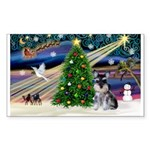XmasMagic/ Min Schnauzer Sticker (Rectangle 50 pk)