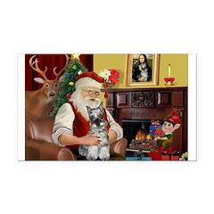 Santa's Mini Schnauzer Rectangle Car Magnet