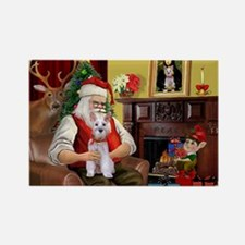 Santa's Schnauzer (9) Rectangle Magnet