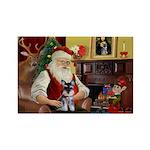 Santa's Schnauzer pup Rectangle Magnet