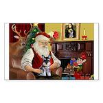 Santa's Schnauzer pup Sticker (Rectangle 10 pk)