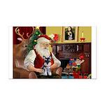 Santa's Schnauzer pup Rectangle Car Magnet