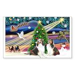 Xmas Magic / 2 Shelties (dl) Sticker (Rectangle 50