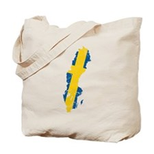 Sweden Flag And Map Tote Bag