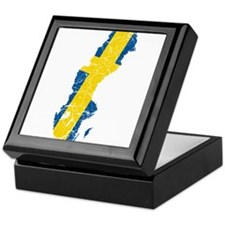 Sweden Flag And Map Keepsake Box