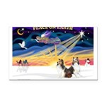 XmasSunrise/ 2 Shelties (dl) Rectangle Car Magnet