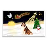 Night Flight/Sheltie Sticker (Rectangle)