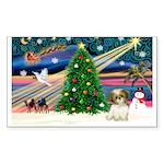 XmasMagic/Shih Tzu pup Sticker (Rectangle 50 pk)