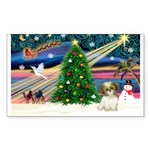 XmasMagic/Shih Tzu pup Sticker (Rectangle 10 pk)