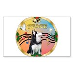 XmasMusic 3/Sib Husky Sticker (Rectangle 50 pk)