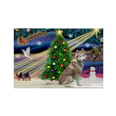 Xmas Magic & Red Husky Rectangle Magnet (10 pack)