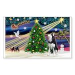 XmasMagic/Siberian Husky Sticker (Rectangle 50 pk)