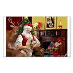 Santa's Red Husky Sticker (Rectangle 10 pk)
