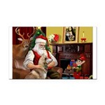 Santa's Red Husky Rectangle Car Magnet