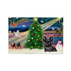 Xmas Magic & Skye Terrier Rectangle Magnet