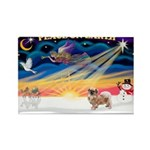 XmasSunrise/Tibetan Spaniel Rectangle Magnet (10 p