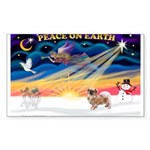 XmasSunrise/Tibetan Spaniel Sticker (Rectangle 50