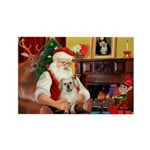 Santa/Tibetan Spaniel Rectangle Magnet