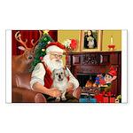 Santa/Tibetan Spaniel Sticker (Rectangle 50 pk)