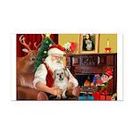 Santa/Tibetan Spaniel Rectangle Car Magnet