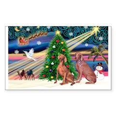 XmasMagic/2 Weimaraners Sticker (Rectangle)